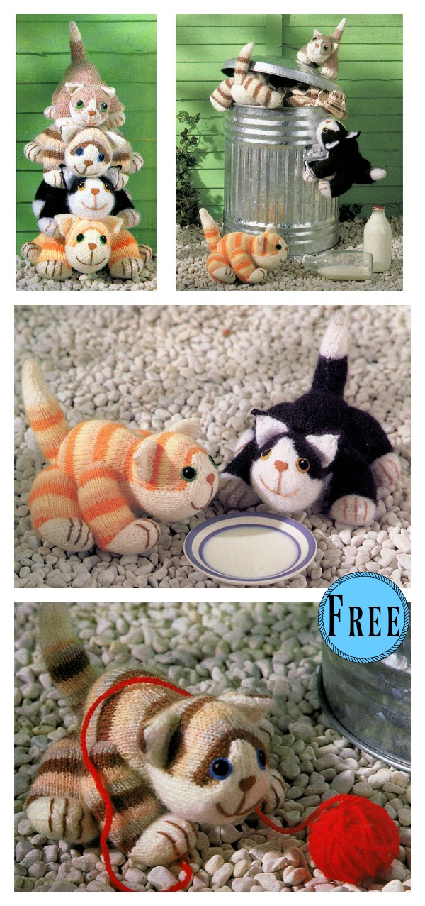 Four Cats Free Knitting Pattern