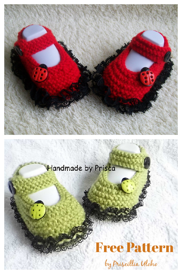 Lacy Mary Janes Booties Free Knitting Pattern
