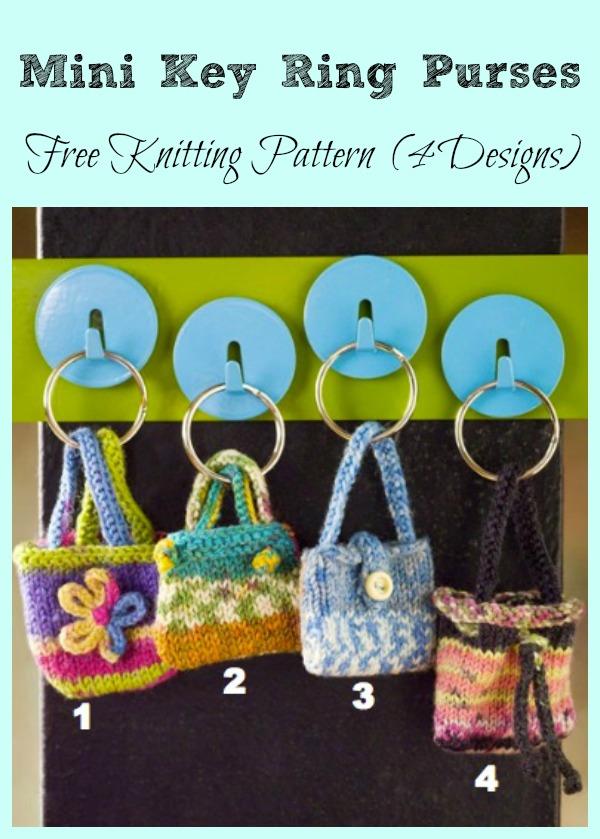 Mini Key Ring Purses Free Knitting Pattern
