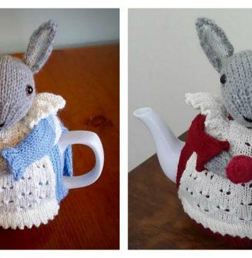 Mrs. Bunny Rabbit Tea Cozy Free Knitting Pattern