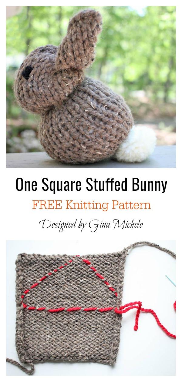 One Square Stuffed Bunny Free Knitting Pattern