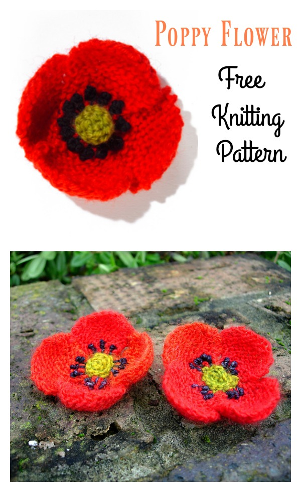 Poppy Flower Free Knitting Pattern