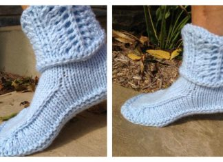 Slipper Boots with Lace Cuff Free Knitting Pattern