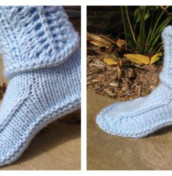 Slipper Boots with Lace Cuff Free Knitting Pattern