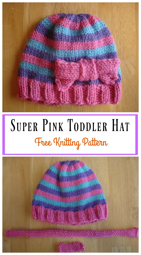 Super Pink Toddler Hat with Bow Free Knitting Pattern 556370e524f