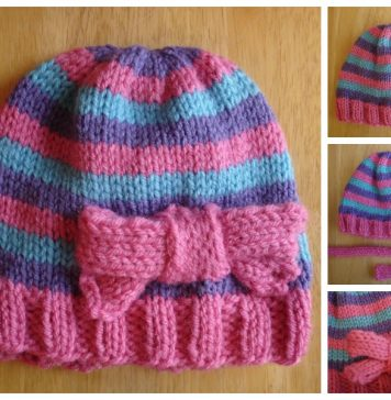 Super Pink Toddler Hat with Bow Free Knitting Pattern