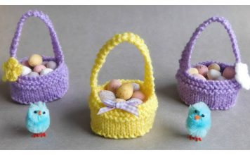 Sweet Little Easter Baskets Free Knitting Pattern