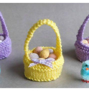 Sweet Little Easter Baskets Free Knitting Pattern