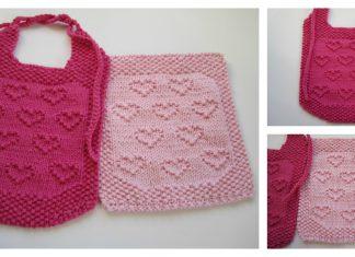 Sweet Heart Bib and Cloth Free Knitting Pattern