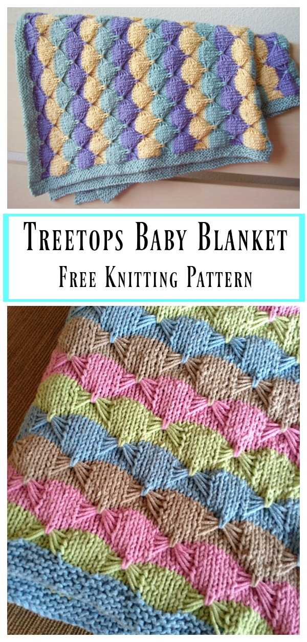 5b6a6d6e7 Free Knitting Pattern for Easy Treetops Baby Blanket