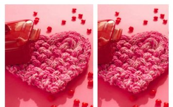 Woven Heart Shaped Coaster Free Knitting Pattern