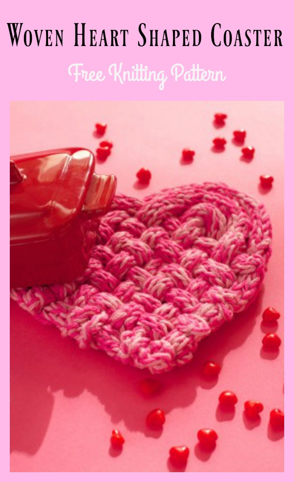 Woven Heart Shaped Coaster Free Knitting Pattern