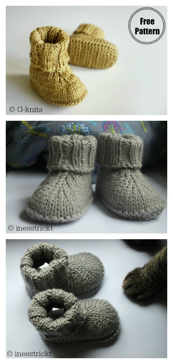 Baby Hausschuhe Boots Free Knitting Pattern
