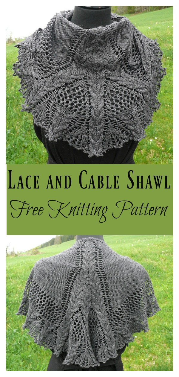 Lace and Cable Shawl Free Knitting Pattern