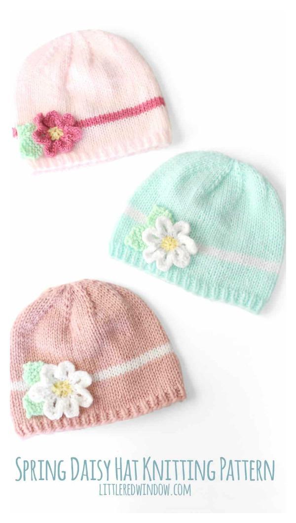 Spring Daisy Baby Hat Free Knitting Pattern
