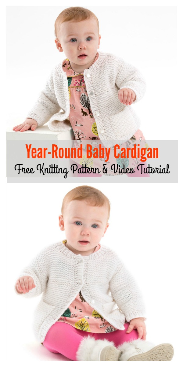 Year-Round Baby Cardigan Free Knitting Pattern and Video Tutorial