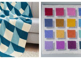 3D Illusion Shadow Squares Free Knitting Pattern