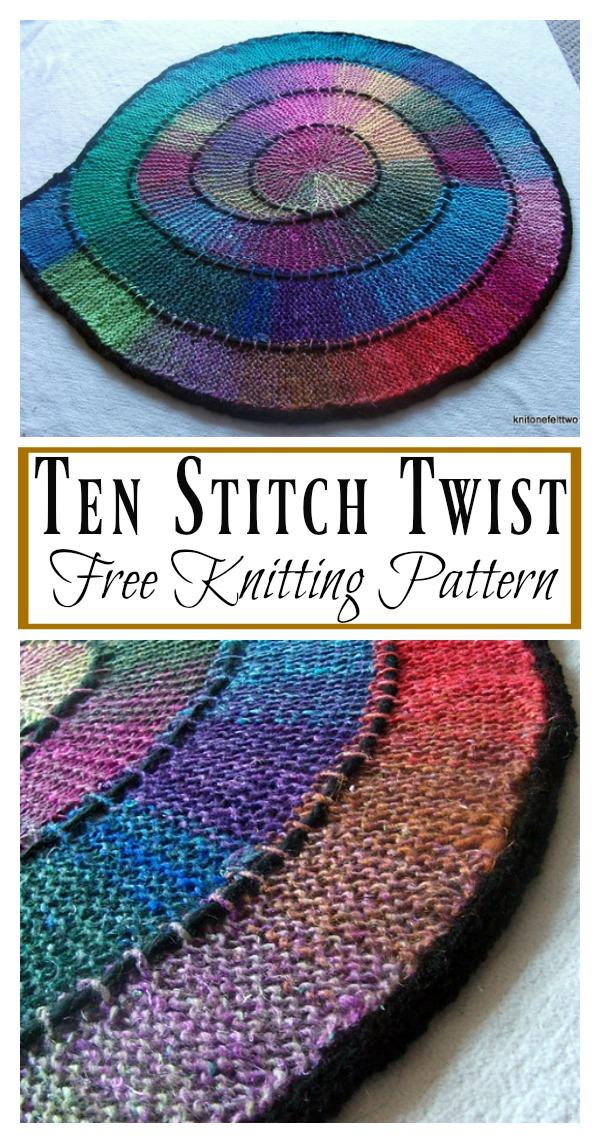 Ten Stitch Twist Blanket Free Knitting Pattern