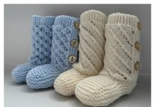 Baby Booties with Buttons Free Knitting Pattern