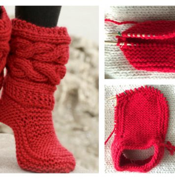 Cable Slippers Free Knitting Pattern and Video Tutorial