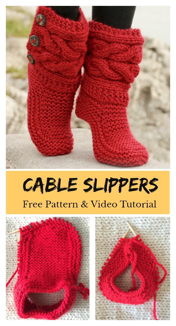 Cable Slippers Free Pattern Knitting and Video Tutorial