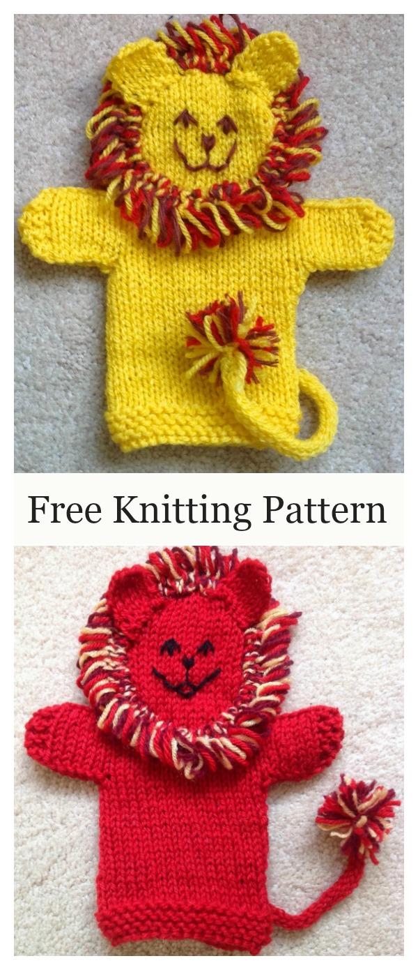 Cute Lion Hand Puppet Free Knitting Pattern