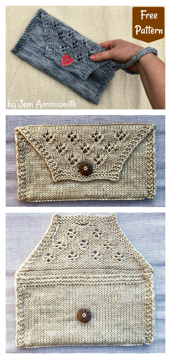 Diamond Lace Clutch Purse Free Knitting Pattern