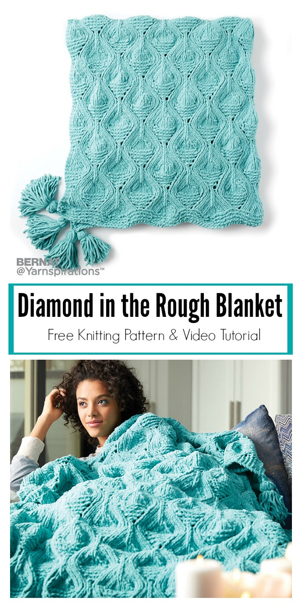 Diamond in the Rough Blanket Free Knitting Pattern and Video Tutorial