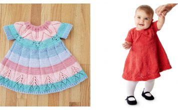 Fairy Leaves Baby Dress Free Knitting Pattern