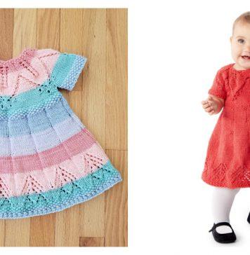 Fairy Leaves Baby Dress Free Knitting Pattern