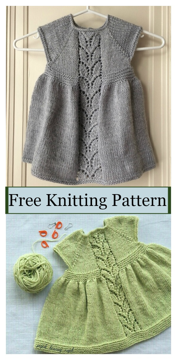 Leaf Love Baby Dress Free Knitting Pattern