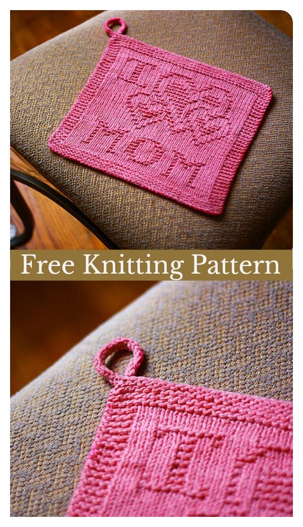 Love Mom Washcloth Free Knitting Pattern