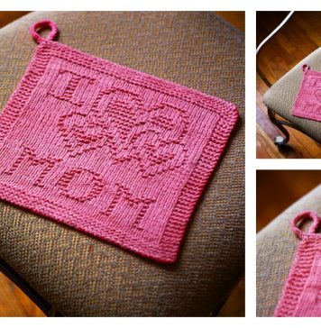 Love Mom Washcloth Free Knitting Pattern