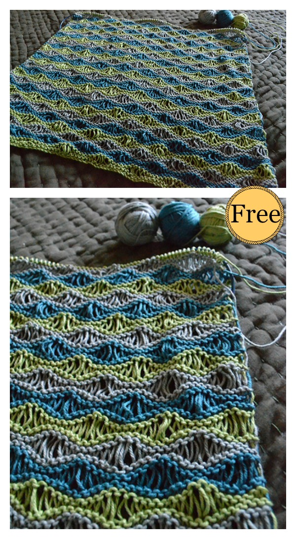 Sea Foam Wave Drop Stitch Baby Blanket Free Knitting Pattern