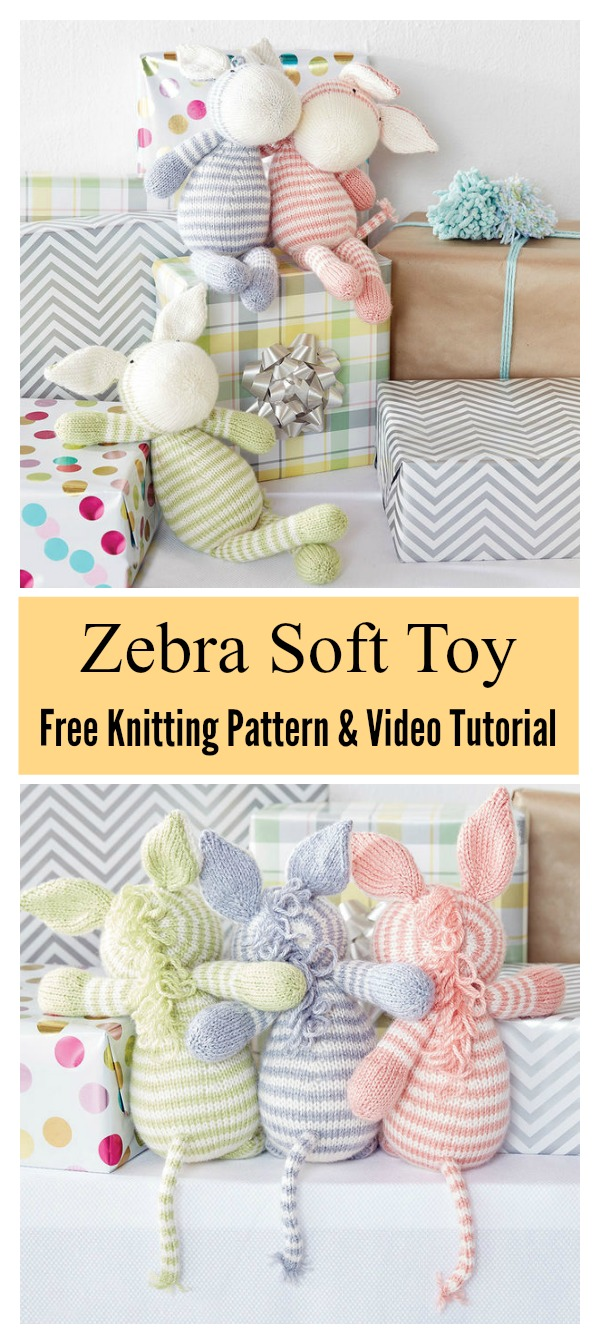 Zebra Soft Toy Free Knitting Pattern and Video Tutorial