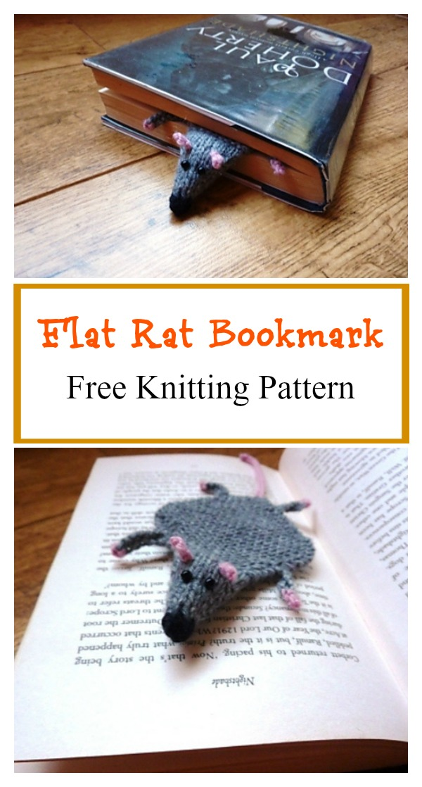Flat Rat Bookmark Free Knitting Pattern