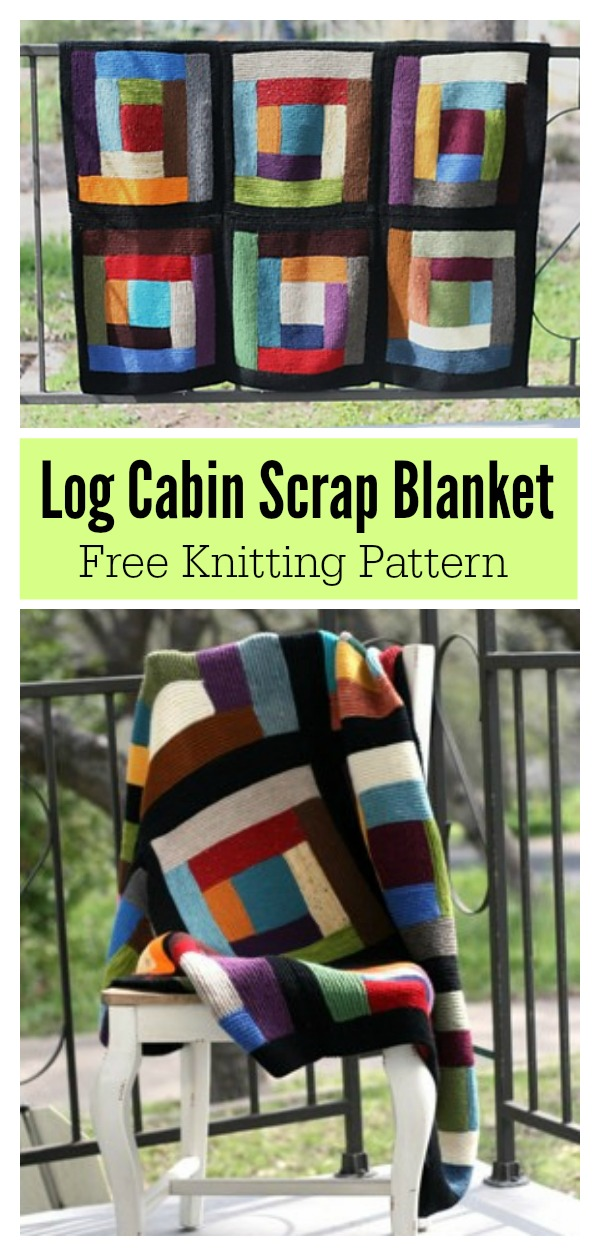 Log Cabin Scrap Blanket Free Knitting Pattern