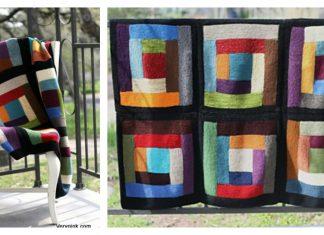 Log Cabin Scrap Blanket Free Knitting Pattern