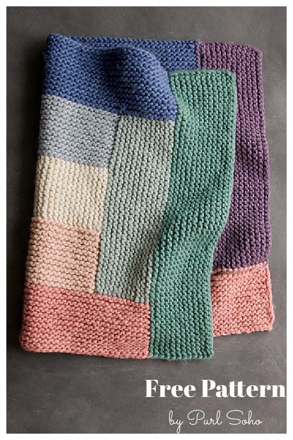 Log Cabin Spectrum Blanket Free Knitting Pattern