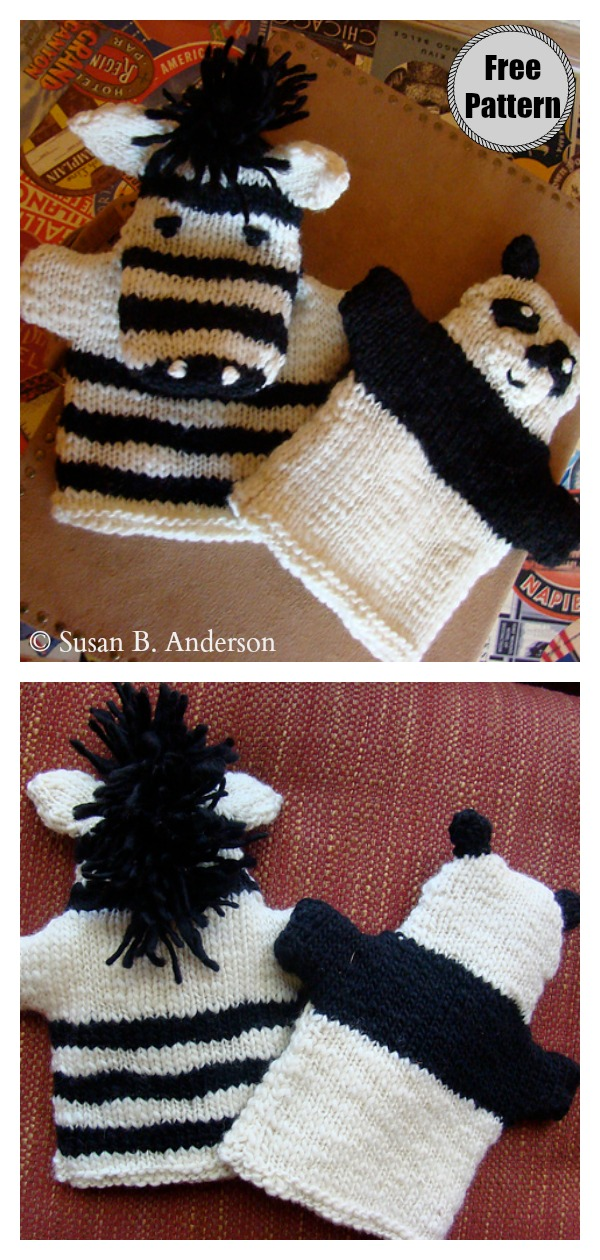 Panda and Zebra Hand Puppets Free Knitting Pattern