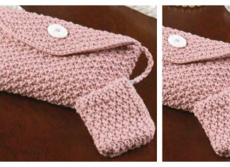 Silky Pink Evening Bag with Coin Purse Free Knitting Pattern