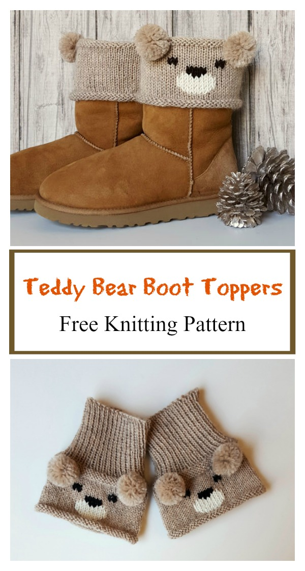 Teddy Bear Boot Toppers Free Knitting Pattern G
