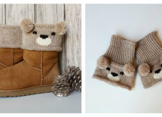 Teddy Bear Boot Toppers Free Knitting Pattern