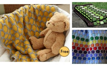 Honeycomb Afghan Baby Blanket Free Knitting Pattern