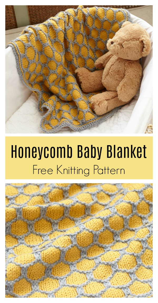 Honeycomb Afghan Baby Blanket Free Knitting Pattern