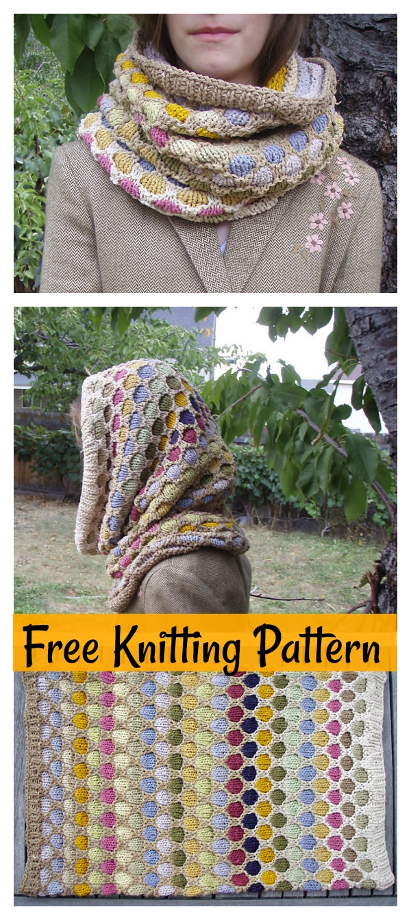 Honeycomb Hooded Cowl Free Knitting Pattern