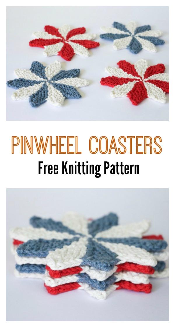 Pinwheel Coasters Free Knitting Pattern