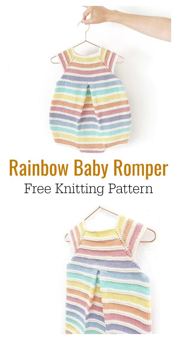 Baby Rainbow Romper Free Knitting Pattern