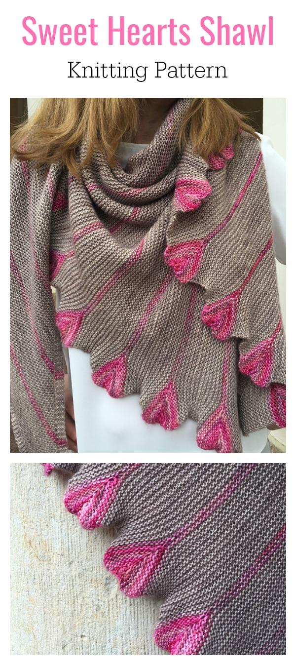 Sweet Hearts Shawl Knitting Pattern