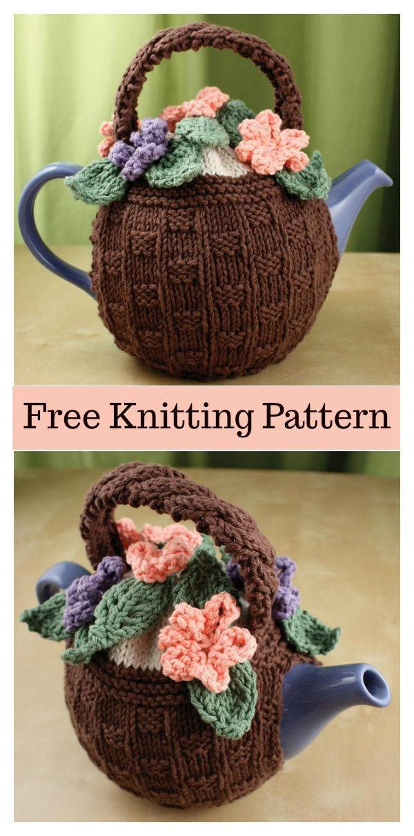 Flower Basket Tea Cozy Free Knitting Pattern